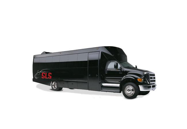 30 PASSENGER LIMOUSINE BUS (BLACK)
